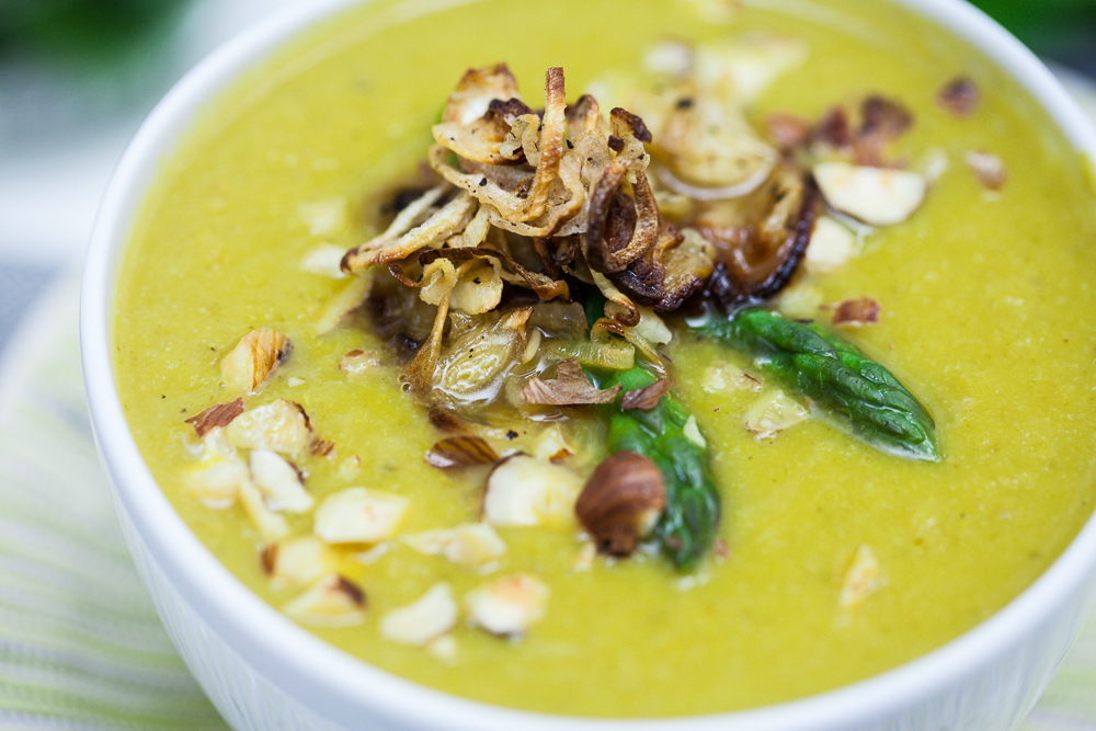 Cream of Asparagus Soup with Crispy Roasted ShallotsKeepin It Kind