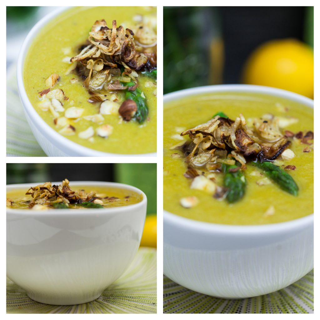 Cream of Asparagus Soup with Crispy Roasted Shallots - Keepin' It Kind