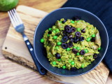 Mizuna Pesto Farrotto with Oven-Roasted Olives