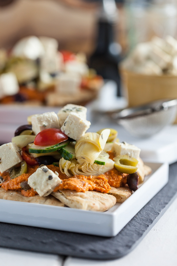 Mediterranean Nachos with Roasted Red Bell Pepper Hummus & Tofu Feta |