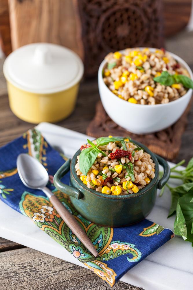 Roasted Corn and Basil Farro Salad