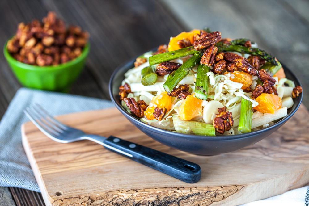 Heart of Palm, Jicama & Asparagus Cabbage Salad with Maple Sriracha Pecans