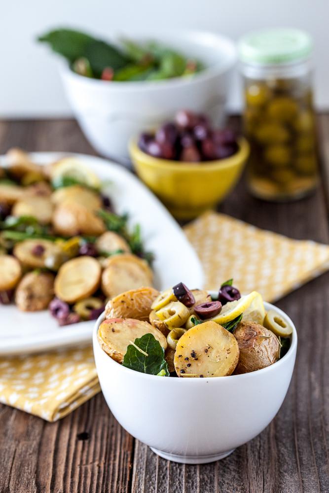 Warm Lemony Olive Potato Salad