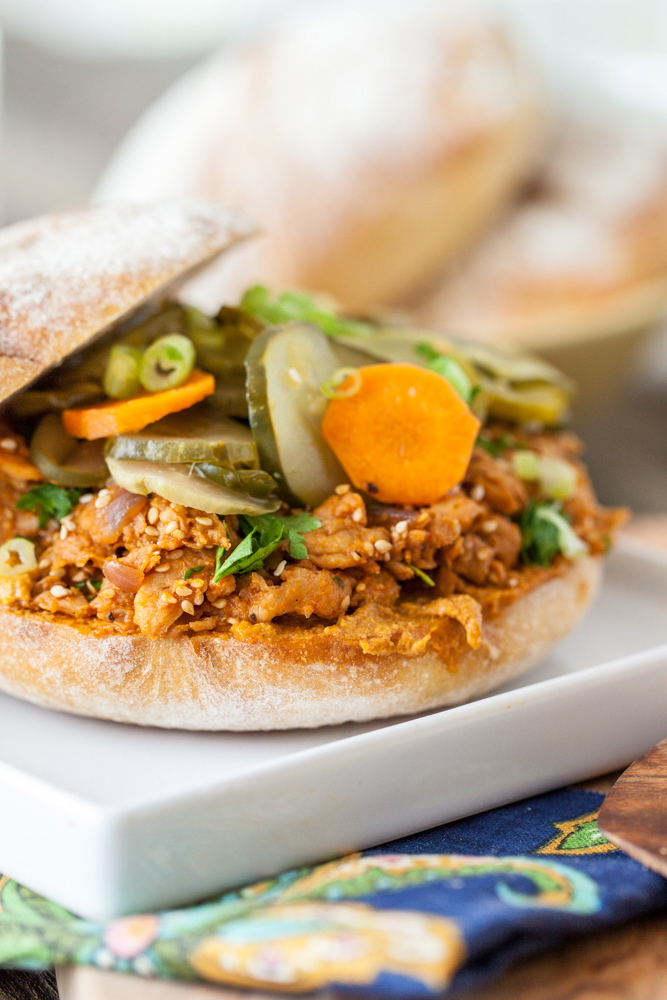 Sesame Sriracha Soy Curl Sandwich with Spicy Pickled Cucumber Salad