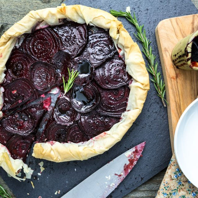 Balsamic Roasted Beet and Rosemary Cashew Cheese Phyllo Tart