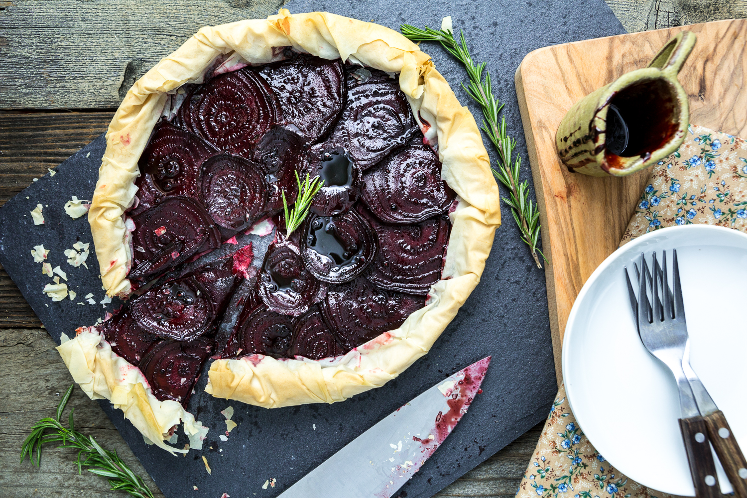 Virtual Vegan Potluck: Balsamic Roasted Beet & Rosemary Cashew Cheese Phyllo Tart