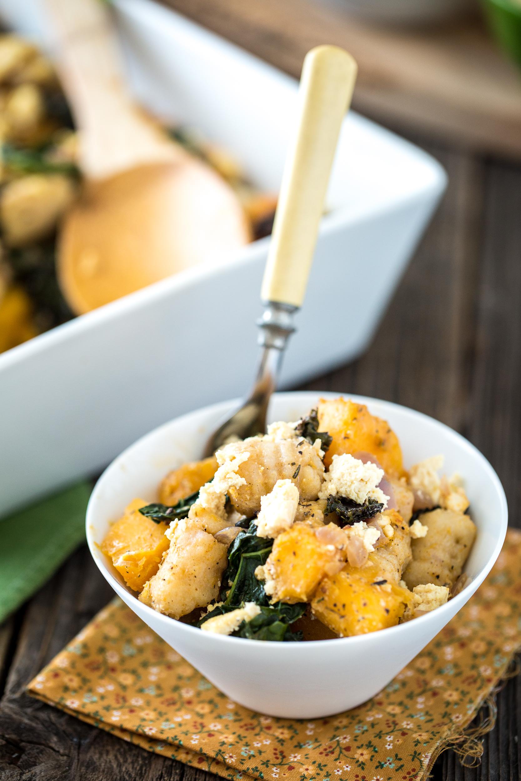 Butternut Squash, Kale, Chèvre & Gnocchi Casserole