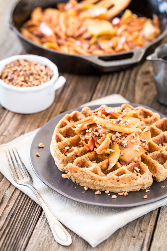 Salted Caramel Pecan Waffles with Cinnamon Apple Topping |