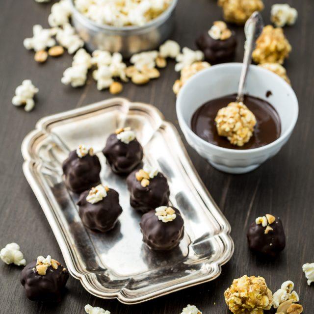 Chocolate Peanut Butter Popcorn Truffles