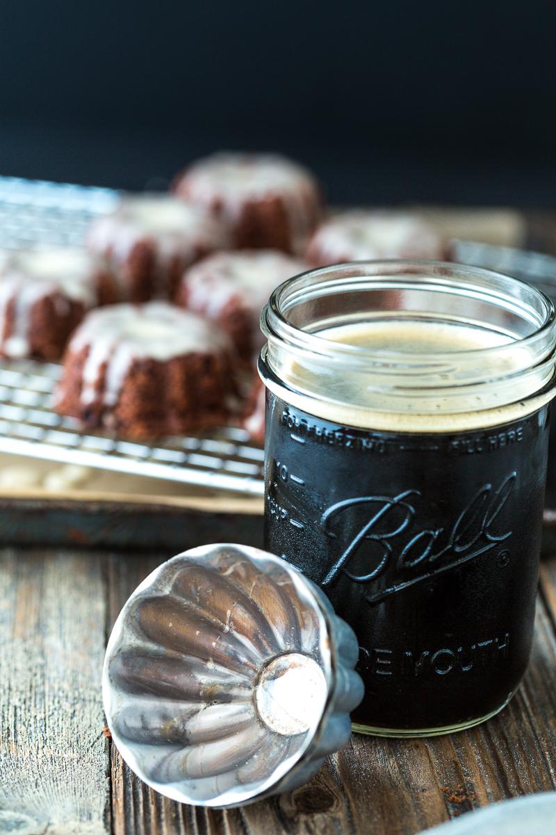 Mini Chocolate Stout Bundt Cakes with Maple Cream Glaze |