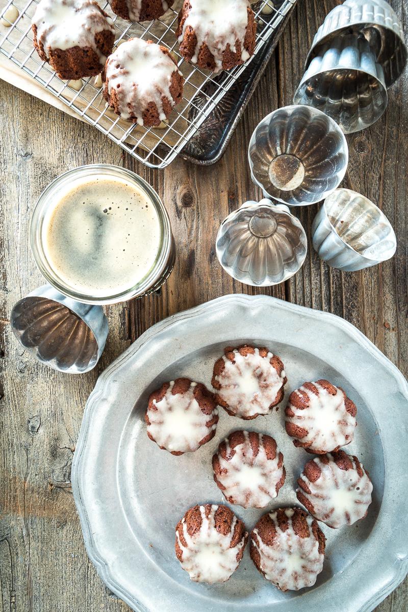 Mini Chocolate Stout Bundt Cakes with Maple Cream Glaze