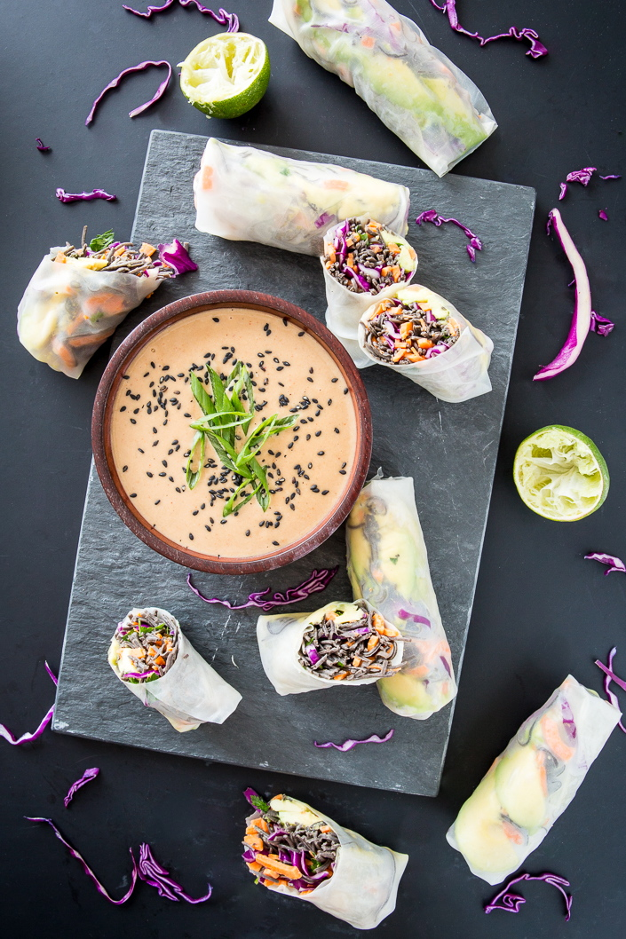 Sweet Potato Black Bean Pasta Summer Rolls with Coconut Lime Tahini Sauce + A GIVEAWAY!