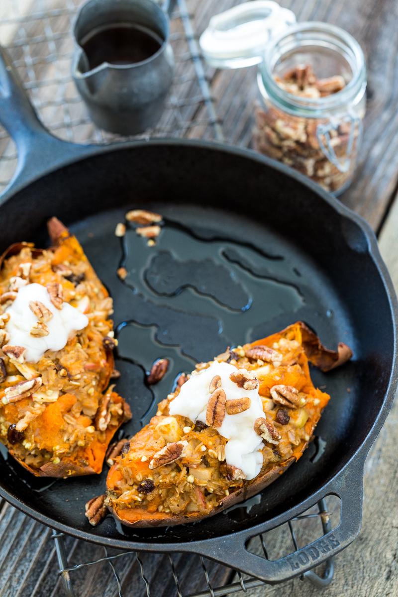 Twice-Baked, Oatmeal-Stuffed Sweet Potatoes