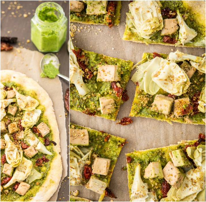 Vegan Chicken & Artichoke Pesto Pizza