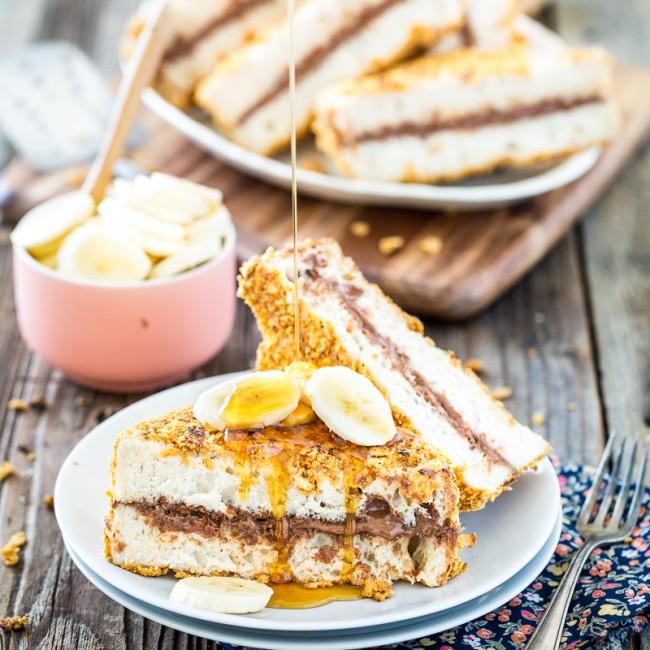 Crispy Chocolate Peanut Butter Stuffed French Toast