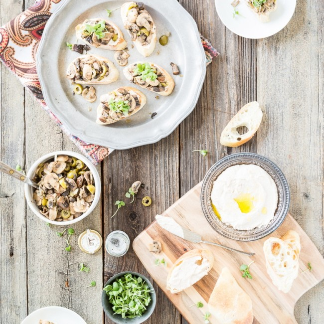 Portobello Bruschetta with Truffled White Bean Hummus