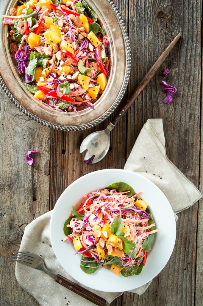 Rainbow Kelp Noodle Salad with Lemon Almond Ginger Dressing |