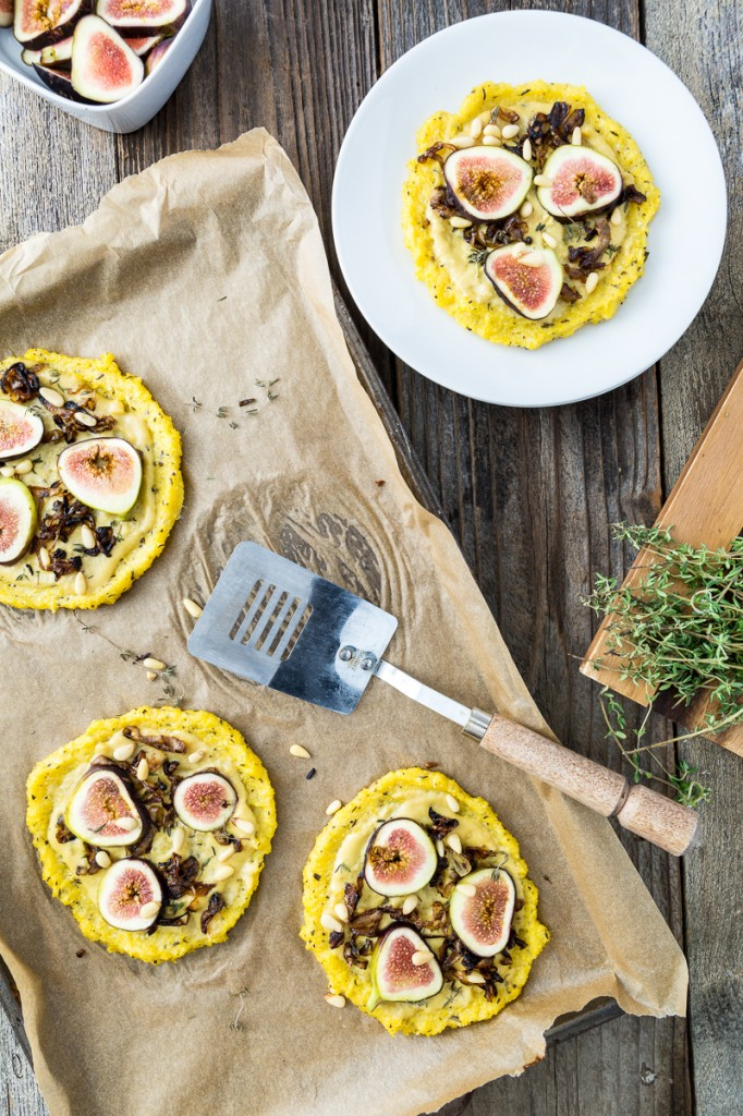Vegan Dinner Party Ideas Part - 30: Caramelized Shallot U0026 Fig Polenta Pizzas With Thyme U0026 Pine Nuts