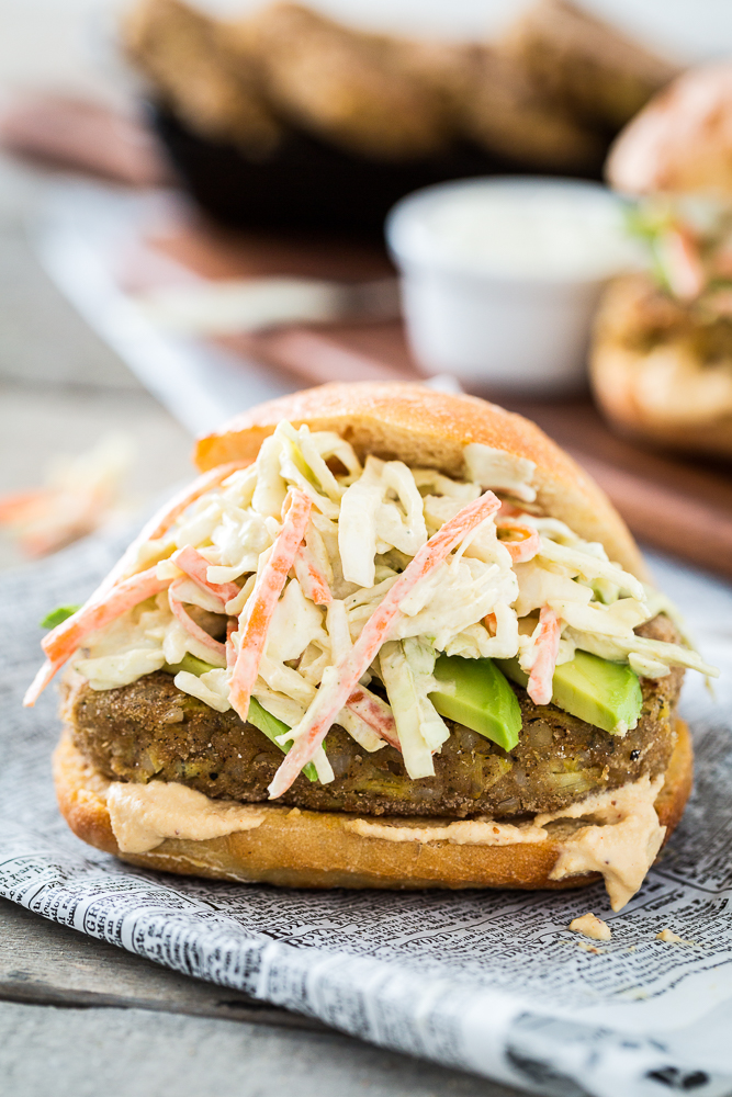 Filet O' Chickpea Sandwich with Tartar Sauce Slaw