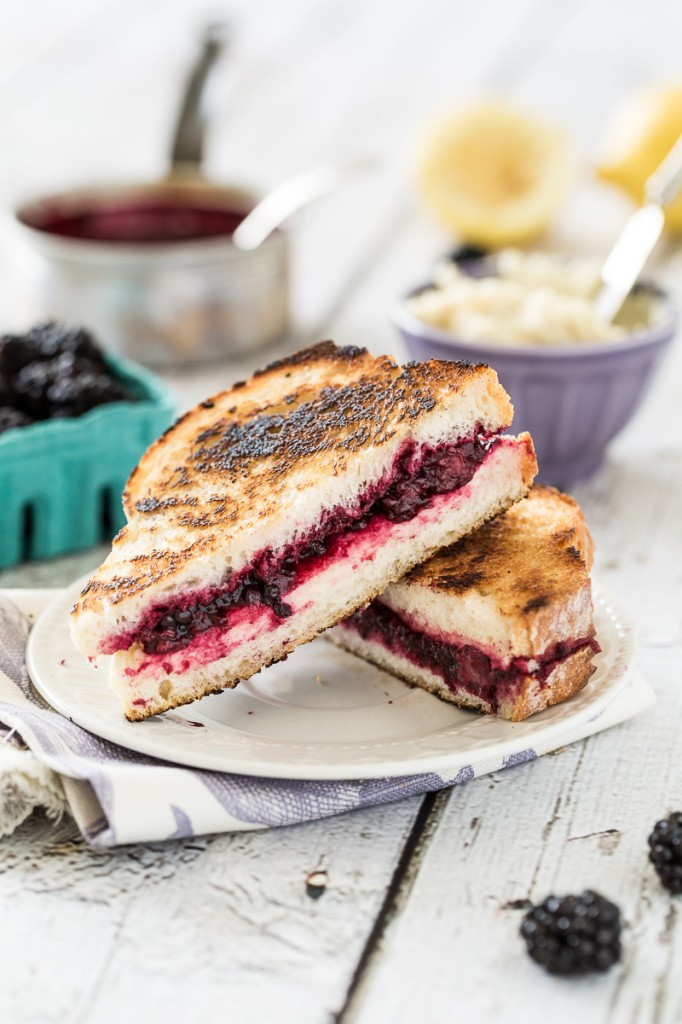 Vegan Lemon-Lavender Blackberry & Ricotta Grilled Cheese Sandwiches