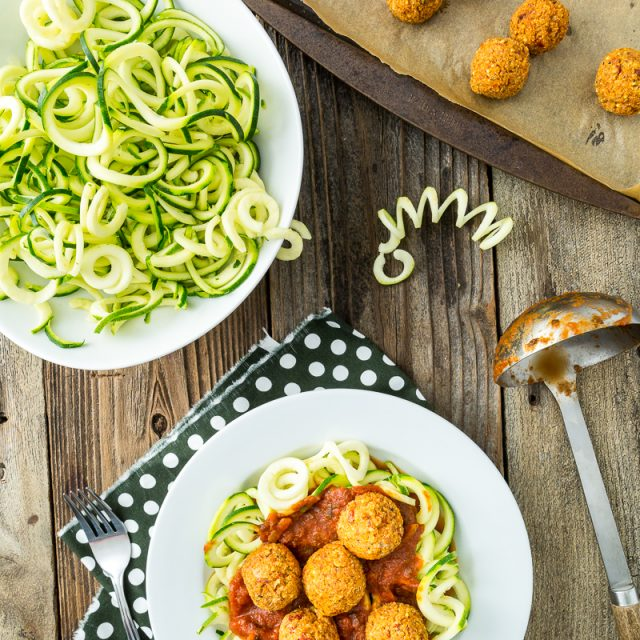 Zucchini Pasta with Quinoa Meatless Balls