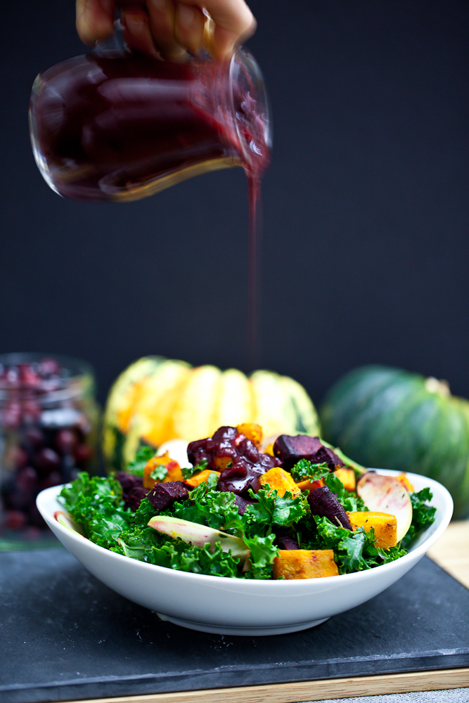 Red Kuri & Beet Kale Salad with Cranberry Orange Balsamic Dressing & Pecan Parmesan