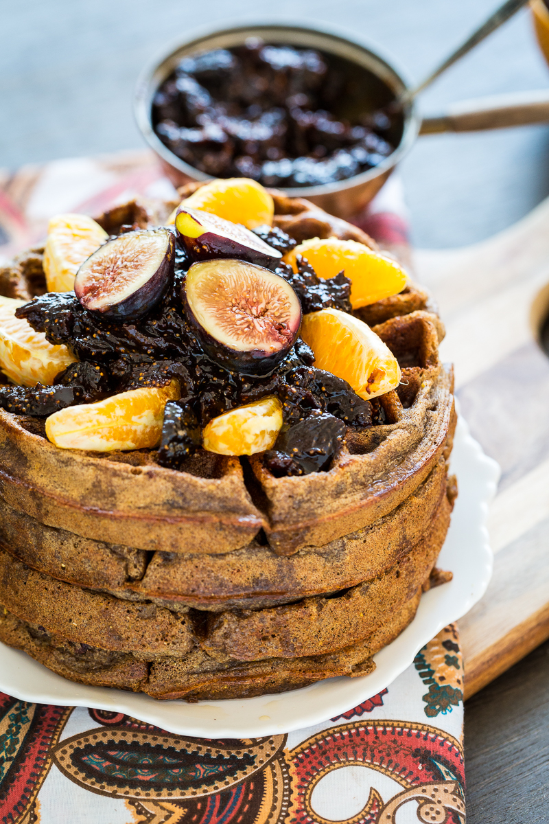 "Kristy's ''Spiced Orange Cacao Nib Waffles with Fig Compote"" from Keepin' It Kind is 'Breakfast In Bed-Fest' entry #9"