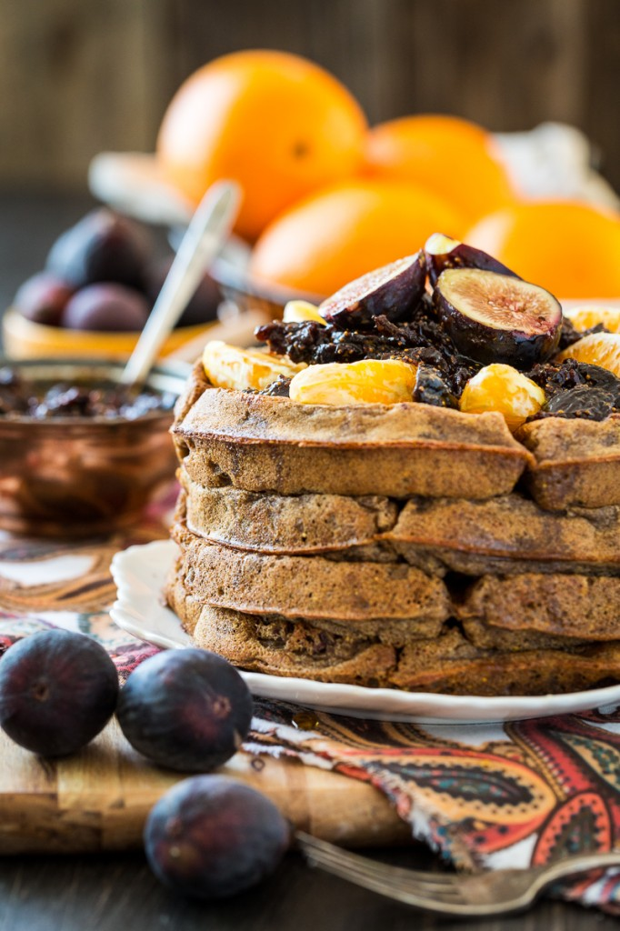 Spiced Orange Cacao Nib Waffles with Fig Compote