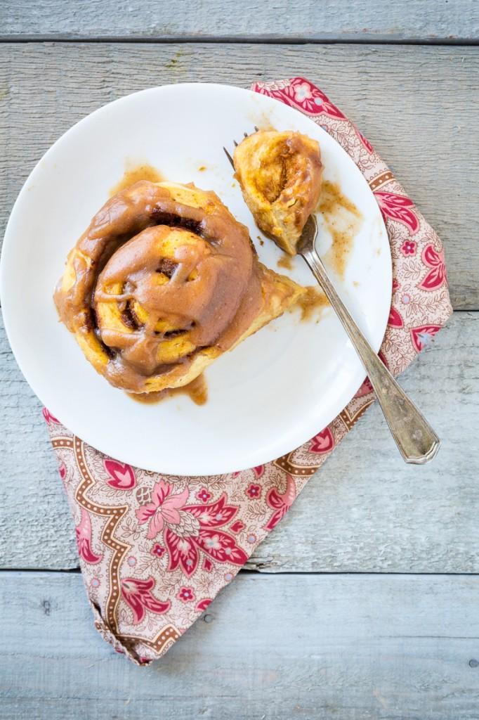 Pumpkin Cinnamon Rolls with Salted Caramel Glaze