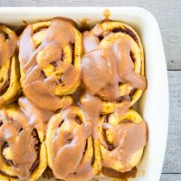 Pumpkin Cinnamon Rolls with Salted Caramel Glaze