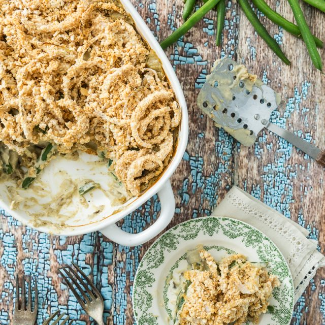 Green Bean Casserole with Onion Ring Topping