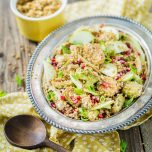Roasted Brussels Sprouts & Quinoa Salad with Tempeh Bacon Bits and Pomegranate