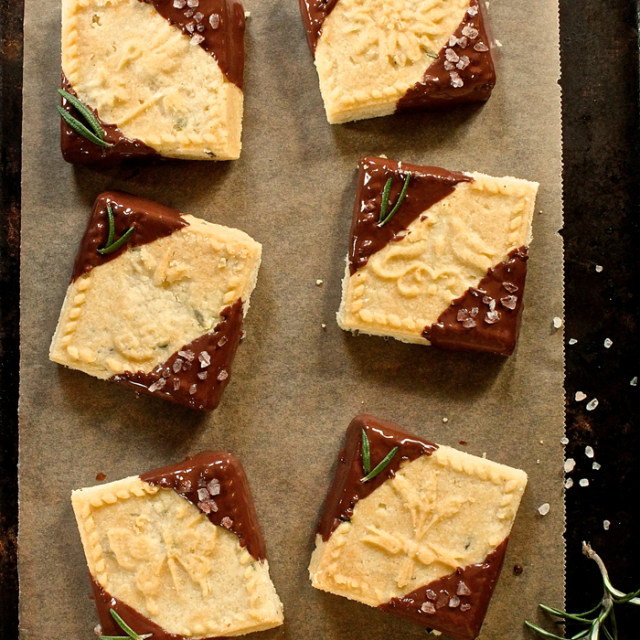 Sarah's Chocolate Dipped Rosemary Shortbread Cookies