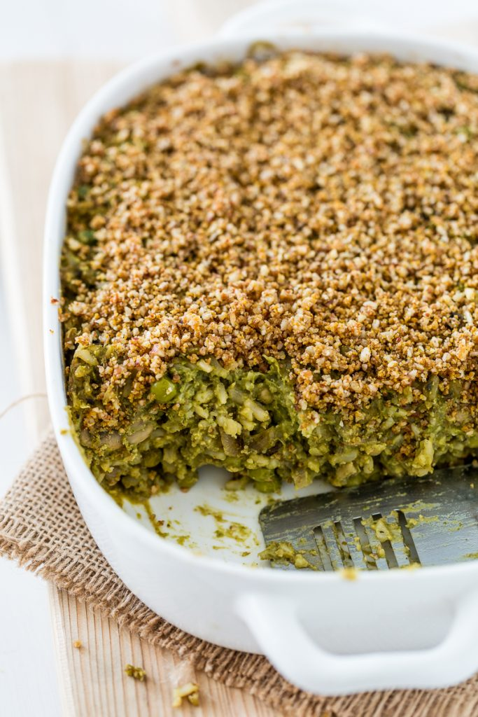 Pumpkin Seed Pesto Rice Casserole