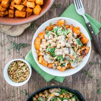 Cheesy Sweet Potato & Chickpea Bowl with Lemon Tahini Sauce