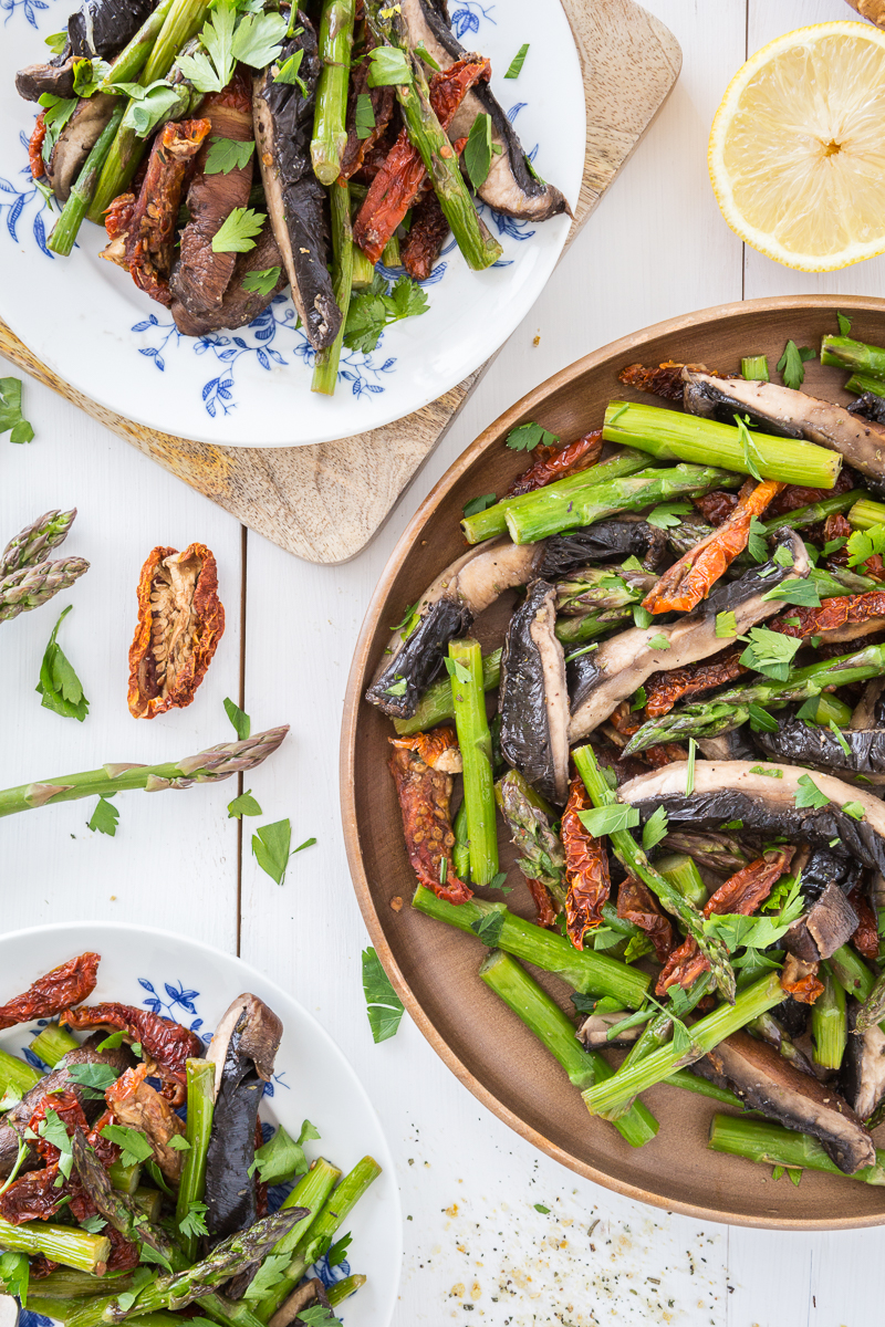 Portobello and Asparagus Salad with Sun-Dried Tomatoes