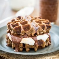Vegan S'mores Waffles with Sugar-Free Marshmallow Fluff