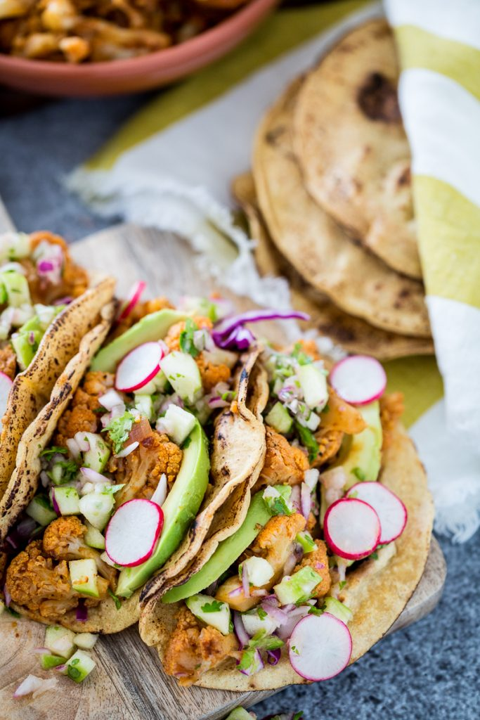 Chipotle Cauliflower Carnitas Tacos with Green Apple Salsa | Keepin' It Kind