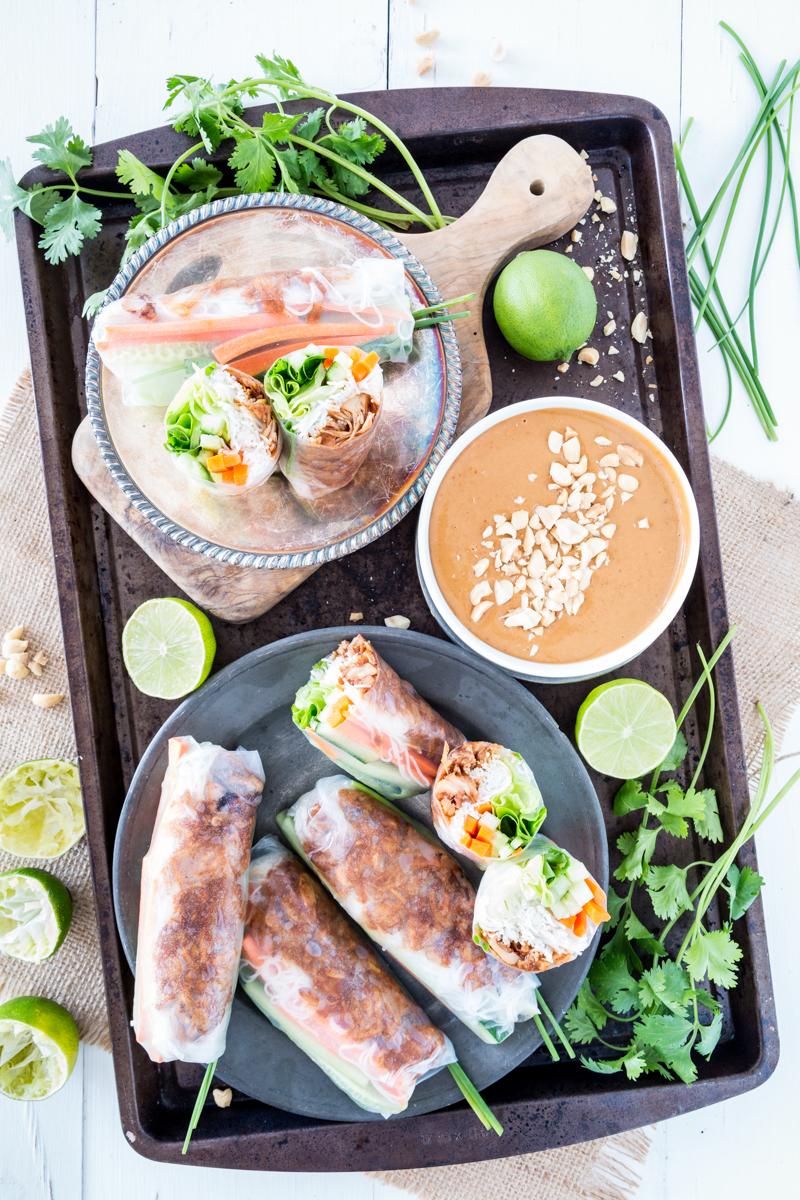 Jackfruit Vietnamese Summer Rolls with Hoisin Peanut Sauce |