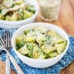 Roasted Garlic Pesto Potatoes with Arugula