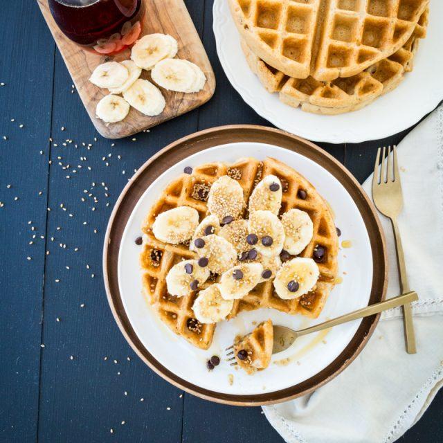 Crisp Miso Tahini Waffles
