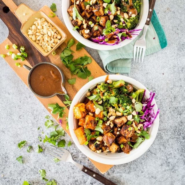 Thai Peanut Tofu & Sweet Potato Bowl