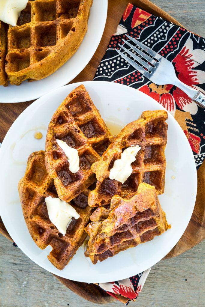 Gluten-free, Vegan, Pumpkin Spice Waffles