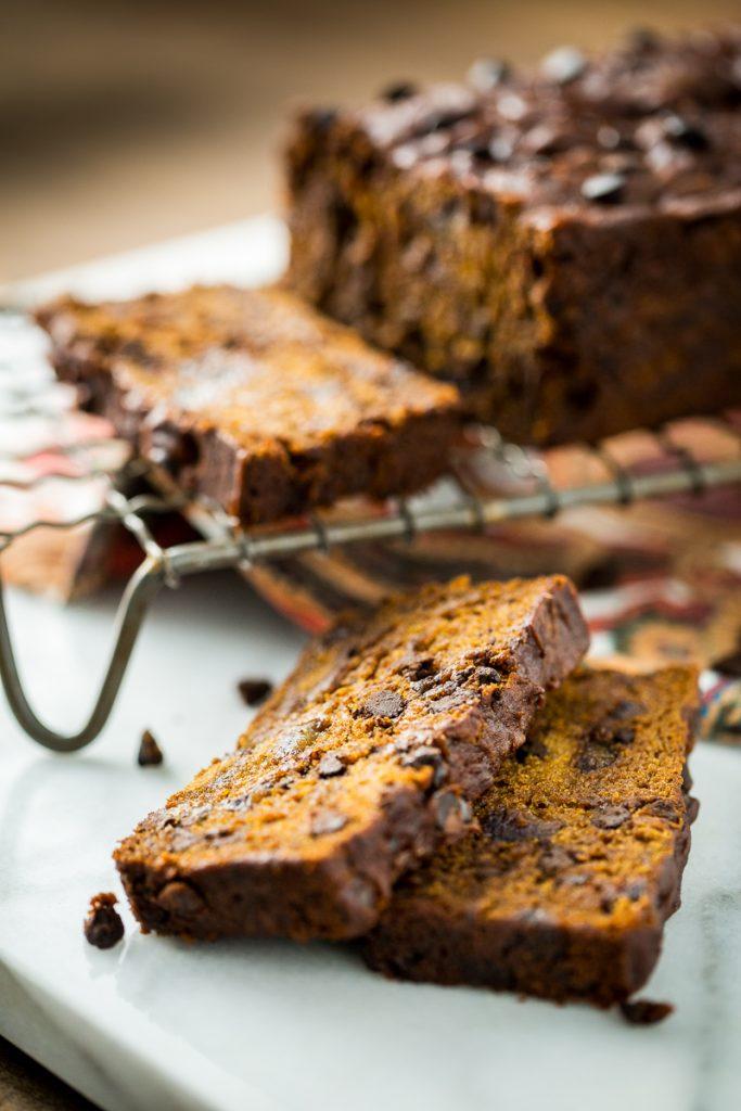 Gluten-Free, Vegan Chocolate Chip Pumpkin Date Bread