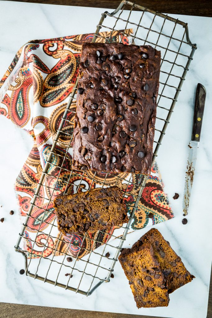 Gluten-Free, Vegan Chocolate Chip Pumpkin Date Bread
