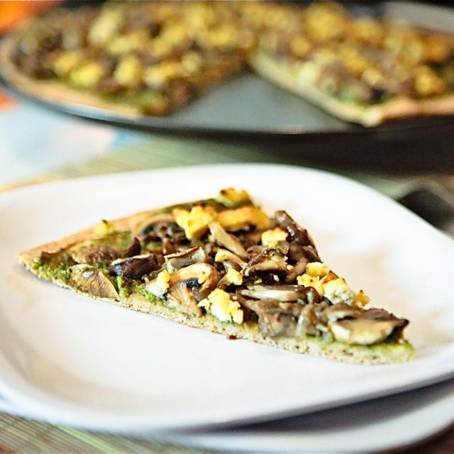 Wild Mushroom Pistachio Pesto Pizza with Tofu Chevre