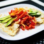 Cadry's Cauliflower Queso Quesadillas with Nectarine Bell Pepper Salsa