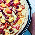 Kumquat & Rainbow Chard Stem Pizza with Cashew Hemp Cheese Sauce