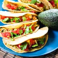 Cilantro Avocado Chickpea Salad Tacos