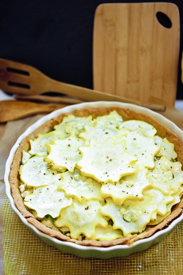 Star Squash Tofu Chevre Tart